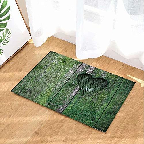 FEIYANG Badeteppiche des Valentinstags grüne Retro hölzerne Planke voll des Moos-Herzens Rutschfeste Fußmatte-Boden-Eingangs-Eingangs-Haustür-Innenmatte scherzt Bad-Bad-Matten (Moose Set Bad)