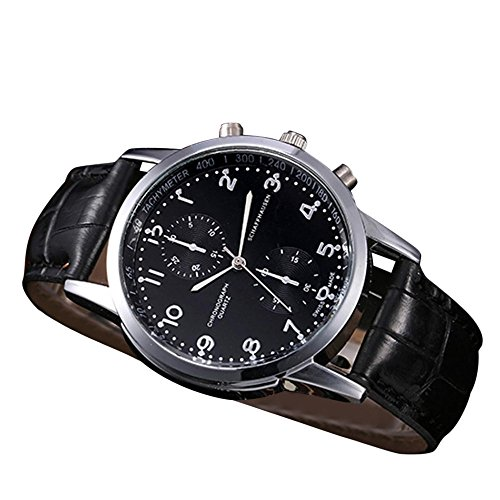 mband Leder Armbanduhr Edelstahl Zifferblatt Quarz-Armbanduhr Luxus Armband Exquisit Uhr Klassisch Uhr,ABsoar ()