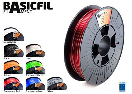 BASICFIL PET 2.85mm, 500 gr filamento de impresión 3D, Rojo transpare