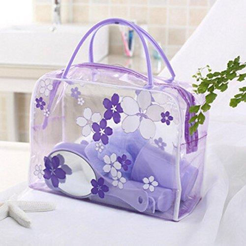 Hunpta Fleur en PVC Transparent étanche Maquillage Trousse de Toilette de Voyage Cosmétique Pouch Neuf, Violet, 60 * 43 * 36cm