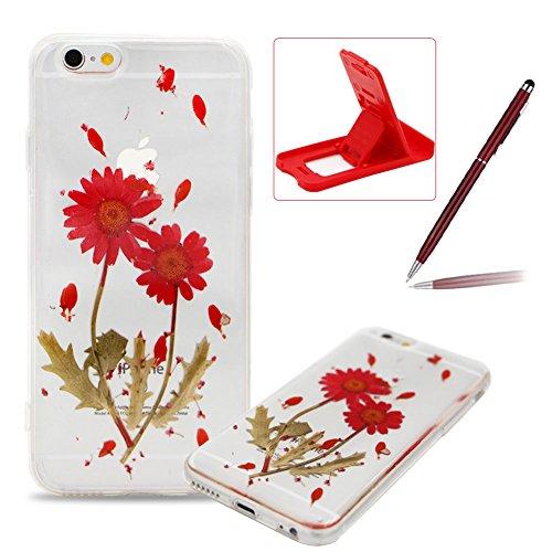 iPhone 6S Plus Hülle Weiches Silikon Gummi Schutz Case,iPhone 6 Plus Stilvoll Elegant Ultra Slim Dünn Passt Perfekt [ Echt Getrocknete Blumen Gepresste ] Klar Kristall Handyhülle,TPU Leicht Mode Soft  Rot Sonnenblumen