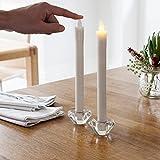 4er Set LED Tafelkerzen Stabkerzen Echtwachs in weiß LED warmweiß 25cm
