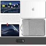 GMYLE Hülle MacBook Air 13 Zoll Gehäuse A1932 2018 Touch ID 200 MB PrePaid International SIM Karte, Hartschale, Tragetasche, Schutzfolie für Webcam-Abdeckung, Tastaturhaut 6-1 Reisegepäck - Weiß