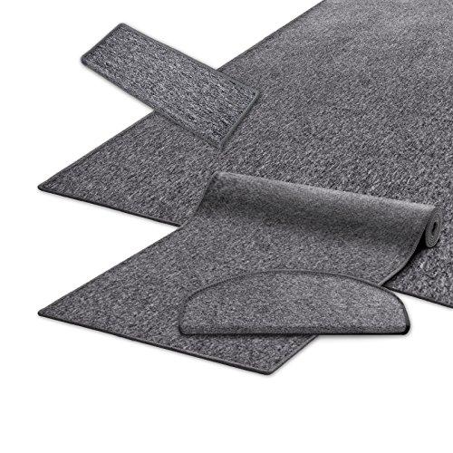 casa pura® Teppich / Läufer in zahlreichen Größen | grau | GUT-Siegel | Qualitätsprodukt aus Deutschland | kombinierbar mit Stufenmatten (Größe: 80x200 cm)