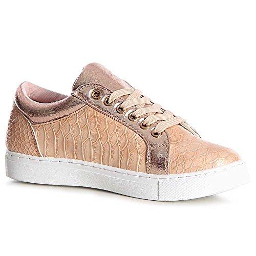 topschuhe24 1148 Damen Sneaker Turnschuhe Metallic Halbschuhe Plateau Rosa