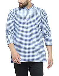 Jainish Men's Check Short Kurta (Available in various Colour Options)