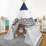 Arkmiido Tende per Bambini Blu e Bianco Teepee da Gioco Indiana Pieghevole 150 cm di Altezza Regalo per Bambini Ragazzi e Ragazze