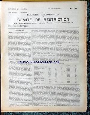 bulletin-hebdomadaire-de-comite-de-restriction-no-185-du-09-11-1918-allemagne-biere-cafe-cereales-charbon