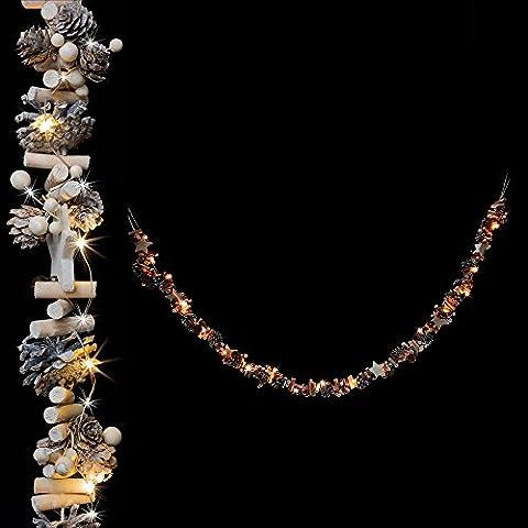 Dekorative 20er LED Lichterkette Girlande mit Tannenzapfen, Sternen und Holz für Herbst, Winter und Weihnachten