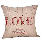 UFACE Mixtes Housses de Coussin Mélange de Coton La Saint - Valentin Imprimé Love Doux Carré 45x45 Zip démontable Lavables pourlaMaison Taies d'oreillers décoratives,Cadeau de Valentine's Day