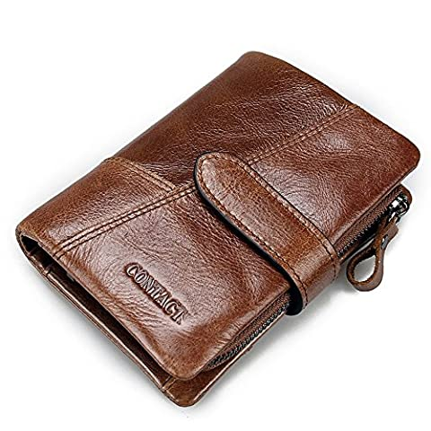 Contacts Mens Genuine Leather Bifold Trifold Card Holder Zipper Coin