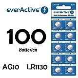 NEMT 100 X Everactive AG10 LR 54 - LR1130 - L1131 - 189 Knopfzelle Uhrenbatterie 1,5 V