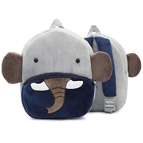 LUXIAO Mochila de Felpa Estilo Animal de Dibujos Animados 3D para niños (Elefante)