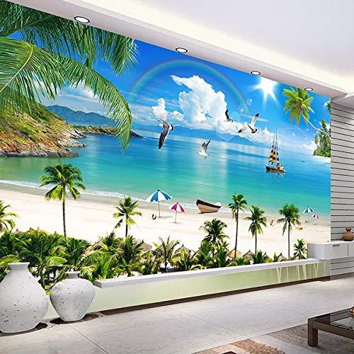 Peinture Murale Peinture Murale 3D Méditerranée Maldives Paysage Marin Plage Arbre De Noix De Coco Fond Photo Papier Peint pour Le Salon-450x300cm
