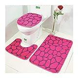 Gnzoe Polyester 3 Pcs Toilettenmatte/Teppich-Set Kieselstein Muster Design Teppiche Set für Toilette Küche Rose Rot 80x50CM