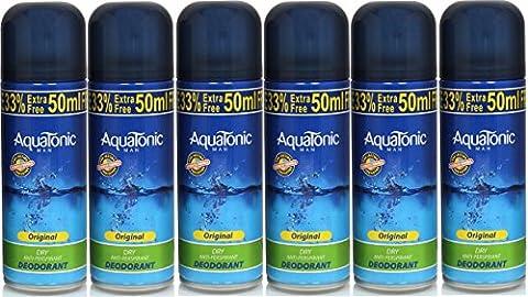Aquatonic Mens Original Anti-Perspirant Deodorant 200ml (6 Pack)