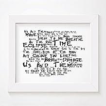 Pink Floyd - The Dark Side of the Moon - Firmada y numerada edición limitada pared arte tipografía Print - Song Lyrics Mini