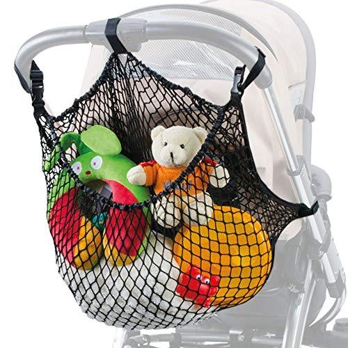 DIAGO großes Einkaufsnetz XL für Kinderwagen, Sportwagen und Buggy , schafft mehr Platz , einfache Anbringung mit Klickverschluss und Klettbändern , universal auch für Zwillingswagen passend , schwarz