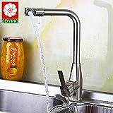 Bijjaladeva für Die Küche Kalt Wasser Leitungswasser Gerichte zu Waschbecken Gebürstet Wasserhahn Spülen Waschbecken Wasser Mischventil Einzige Aktie 032 Heißen und Kalten Wasserhahn zu Drehen