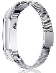 Mornex Bracelet pour Fitbit Alta et Fitbit Alta HR,Bracelet en Acier Inoxydable Milanaise Remplacment Réglable avec Fermoir Magnétique