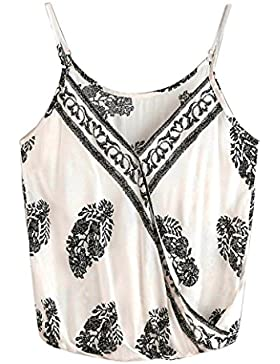 Wawer Chaleco de algodón para mujer, diseño de hojas de verano, estilo casual, para baile, club, fiesta, día y...