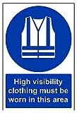 """VSafety, 41065AN-S, segnale di obbligo di uso dei dispositivi di protezione individuale, con scritta in inglese: """"High visibility clothing must be worn in this area"""", autoadesivo, verticale, 200mm x 300mm, blu"""