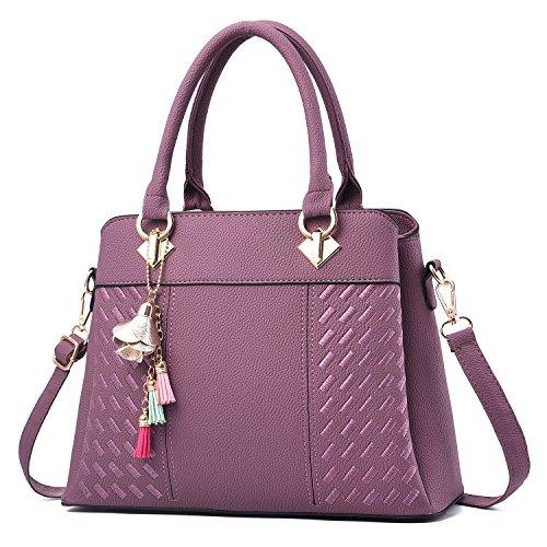 Barwell Barwell Sacs à main Femme PU Cuir Poignée Sac Fourre-Tout à Bandoulière (violet)