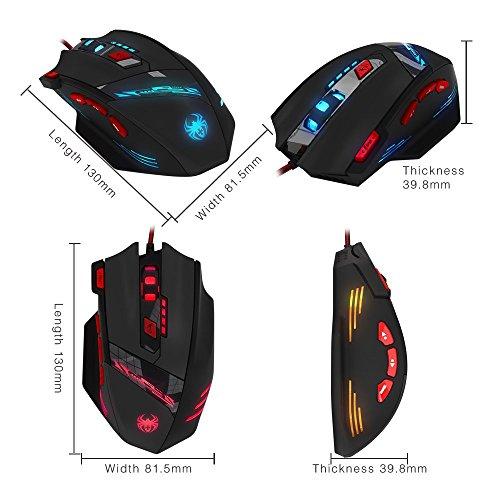 Gaming Maus, ECHTPower Computer Laser Optische Gaming Mouse, 9200DPI PC Gamer Maus mit einstellbarer DPI, 8 Stk. Gewichten, LED Beleuchtung, 8 Tasten, USB kabelgebundene, Groß, Rechtshänder - 9