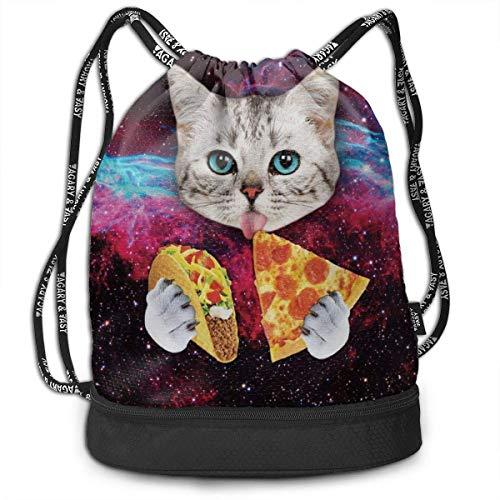 Gym bags, Rucksacks, Men & Women Premium Polyester Drawstring Sack Galaxy Space Kitten Cat Eat Taco Pizza String Bag Theft Proof Lightweight For Swiming Soccer Baseball Bag For Camping, Running