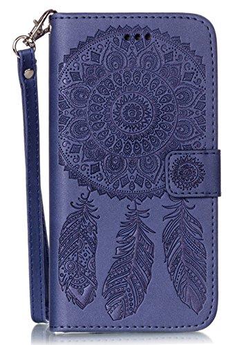 Nnopbeclik Coque Iphone 7 Apple [Neuf] Mode Fine Folio Wallet/Portefeuille en Bonne Qualité PU Cuir Housse pour Iphone 7 Coque Cuir [Antichoc] (4.7 Pouce) Wind Chime Style de Gaufrage Motif + Stand Su pourpre