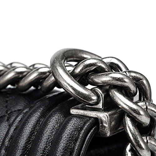 Sacchetto di spalla del sacchetto di spalla del sacchetto di catena della catena del cuoio genuino di cuoio delle donne Red