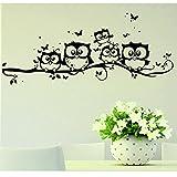 Kolylong Kids Vinyl Art Cartoon lovely Owl Butterfly Wall Sticker Decor Home Decoration