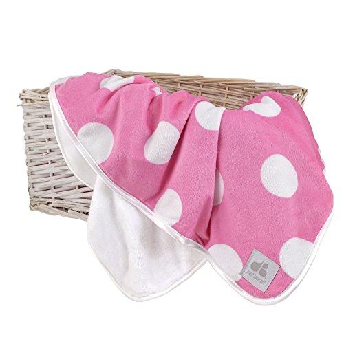 Just Born 44515L - Mantita para recién nacido, color rosa con topos blancos