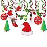30 Pezzi Natale Pendenti decorazione kit con Babbo Cappello, Pupazzo, albero di natale, Calza, Konsait buon Natale turbinii ghirlanda decorazione a Spirale da Appendere per Natale Decor casa interno (Natale)