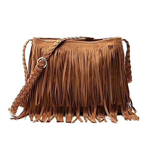 BEKILOLE™ Hippie Suede Fringe Tassel Messenger Bag Women Hobo Shoulder Bags Crossbody Handbag, Brown