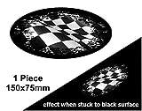 Couleurs à Noir porté Grunge Design Ovale avec drapeau à damier Racing pour casque de moto autocollant pour voiture 150x 75mm