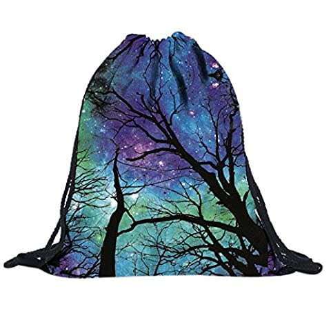 rosennie Fashion Rhinestone Starry Sky Impression 3D unisexe sac à dos Sacs Sac à dos à cordon de serrage