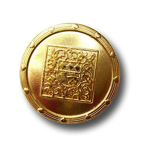 Knopfparadies - 6er Set sehr edle Metall Knöpfe mit Wappen & nostalgischem Muster / goldfarben / Metallknöpfe / Ø ca. 23mm - Wappen-knöpfe