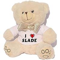 Oso blanco de peluche con Amo Slade en la camiseta (nombre de pila/apellido