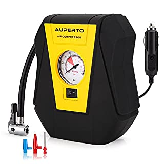 AUPERTO Tyre Inflator, Auto Tire Pump,12V Portable Air Compressor,3 Meters Power Cord and 3 Valve Adapters for Car Tire,Bicycle, Motorcycle and Other Inflatables