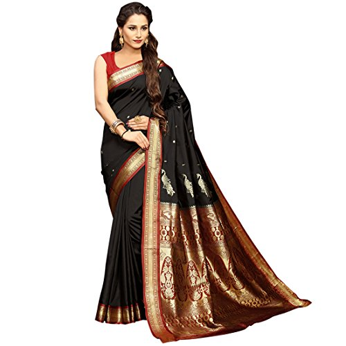 703debcc8cae05 Craftsvilla Women s Silk Blend Zari Work Traditional Black Saree With Blouse  Piece