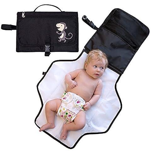 Zuoao Baby Wickelunterlage Für Unterwegs,Wasserdichte Umweltfreundliche Baby und Kinder Windeltasche,Tragbar Wickelauflagen Wickeltasche für Reisen und zu Hause Schwarz