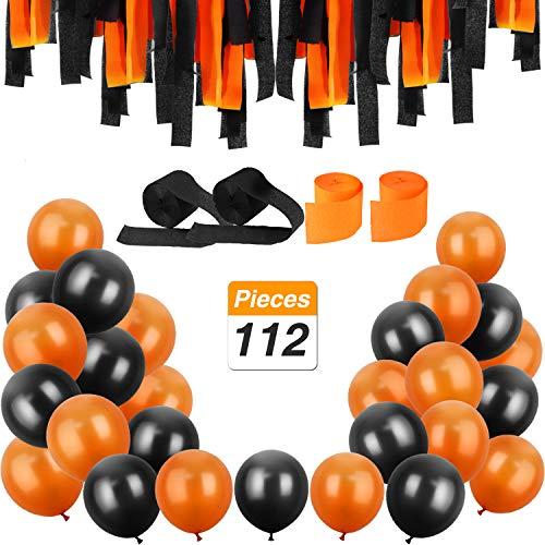 Jovitec 100 Piezas 12 Pulgadas de Globos de Látex y 12 Rollos de Serpentinas de Crepé para Decoraciones de Halloween Materiales de Fiesta, Naranja y Negro