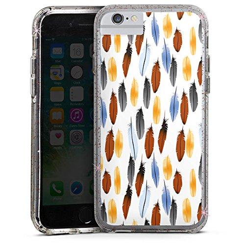 Apple iPhone 7 Bumper Hülle Bumper Case Glitzer Hülle Federn Colourful Bunt Bumper Case Glitzer rose gold