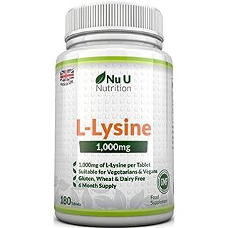 L-Lysine 1000mg | 180 Tablets (6 Month Supply) | Vegetarian and Vegan L lysine 1000mg by Nu U Nutrition