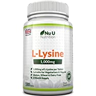 L-Lysine 1000mg – 180 Tablets (6 Month Supply) – Vegetarian and Vegan L lysine 1000mg by Nu U Nutrition