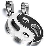 Oidea 1 Paar(2PCS) Freundschaftsketten mit Anhänger, Edelstahl Tai Chi Yin und Yang Partner-Anhänger mit 45cm und 55cm Kette Halskette, Silber Schwarz