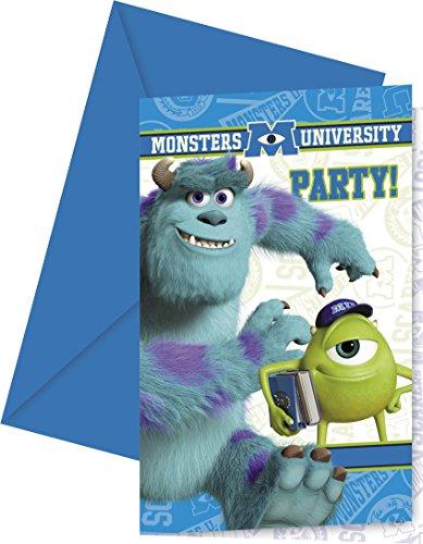 Disney Monsters University Einladungskarten mit Umschlägen, 6Stück (Monster University Spielzeug)