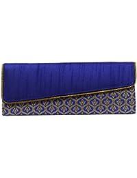 Mela Exclusive Partywear Ethnic Brocade Fabric Cross Flap Clutch for Women-Blue