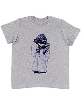 Sad Japanese Aesthetic Unisexo Niños Gris Camiseta Niño Niña   Unisex Kids Grey T-Shirt